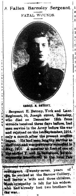 Edwin Betony obituary from Barnsley Independent
