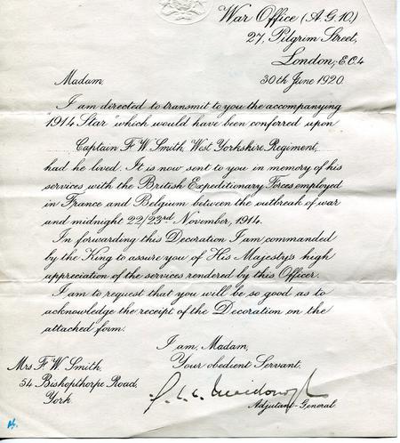 Notification of 1914 Star award