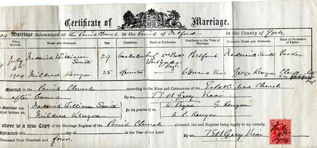 Marriage certificate FW Smith to Mildred Kenyon