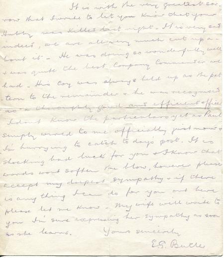EG Butler letter to my grandmother 26th April 1916
