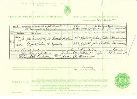 Marriage certificate for John Thomas Chittem