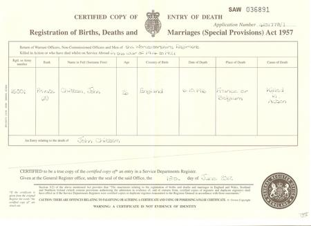 Death certificate for John Thomas Chittem