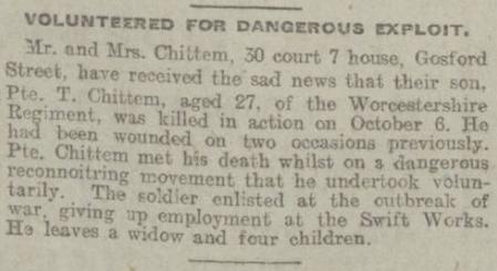 Newspaper article for John Thomas Chittem
