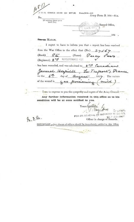 Copy of Army Form B 104-80B notification of injury