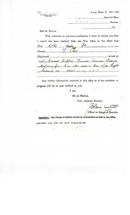 Copy of Army Form B104-80A notification of injury