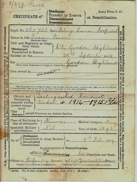 Demobilisation Certificate