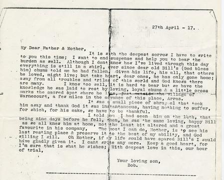 Copy of letter - from William's brother to parents