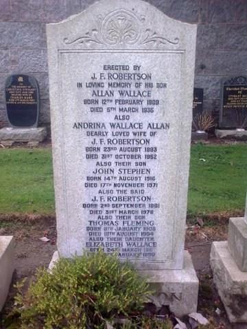 Gravestone of JF Robertson