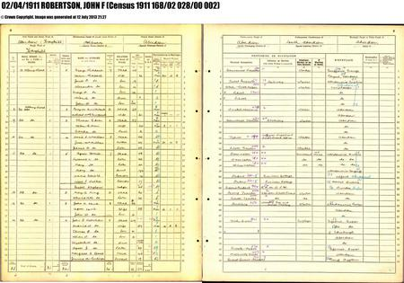Census record for the Robertson family, 1911