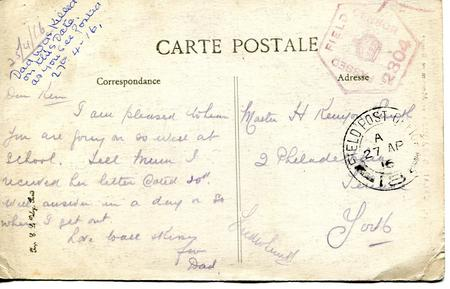 Reverse of Bleriot post card