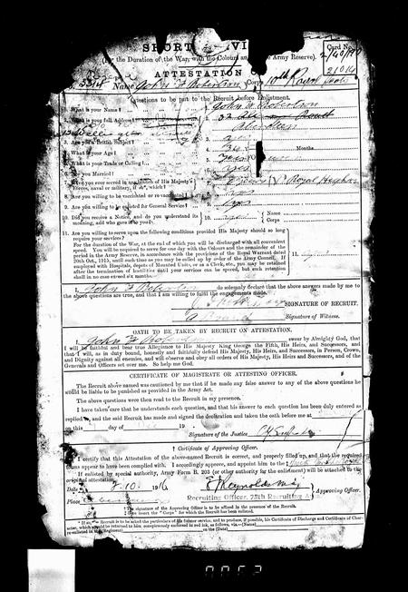 Enlistment record for J F Robertson