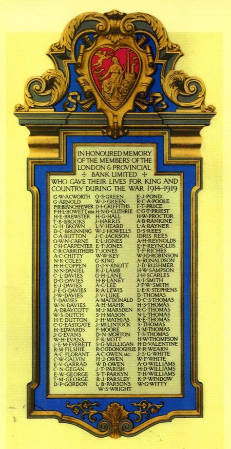London & Provincial Bank Memorial Plaque