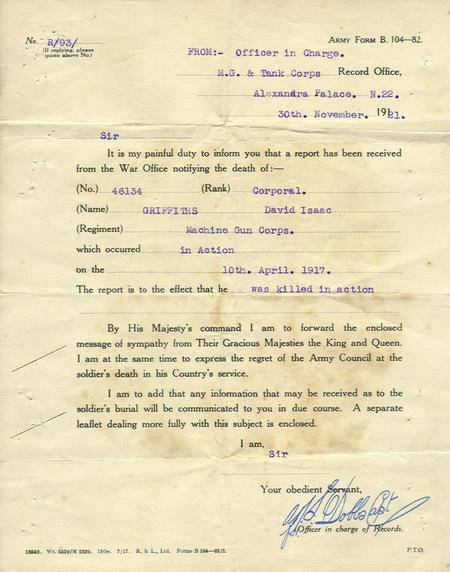 Official letter of Confirmation of Death.