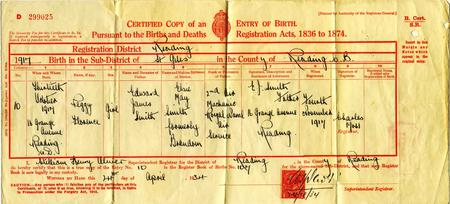 Birth certificate of Peggy Florence Smith