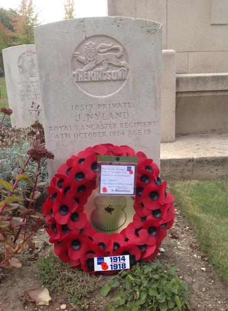 War grave on the Centenary of Private James Nyland