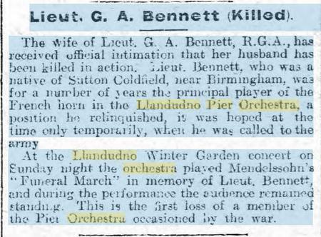 Lieut G A Bennett (Killed) - North Wales Chronical