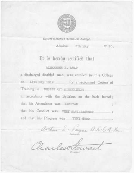 Robert Gordon's Technical College certificate 1920