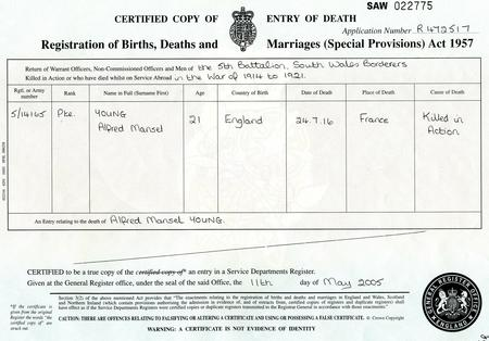 Death certificate for Alfred Mansel Young