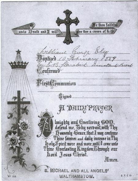 William George Ely Baptism Certificate