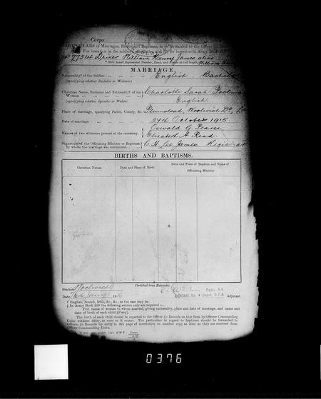 Army Marriage certificate