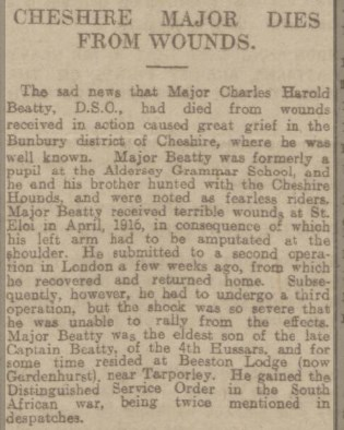 Report of Major Beatty's death