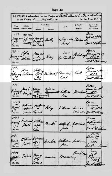 Baptismal Record for John Septimus Millachip