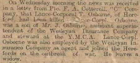 Death of Lance Corpl. T. Osborne