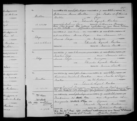 Baptism Register 1888 St. Werburgh's Chester