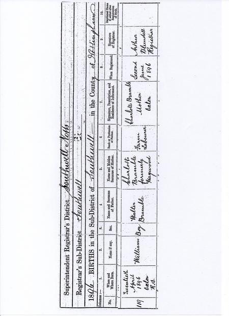 Birth Certificate of William Bramble