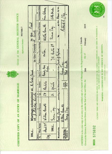 Marriage Certificate of William Bramble