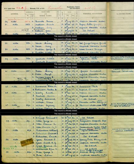 Emma Bramble entry in 1939 Register