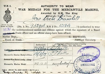 Authorization To Wear Mercantile Marine Medal