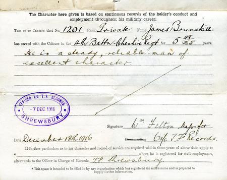 Service Record - James Victor Brunskill (p.2 of 2)