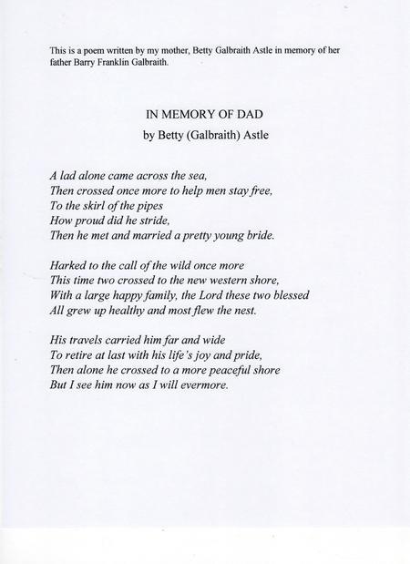 poem ... In Memory of Dad