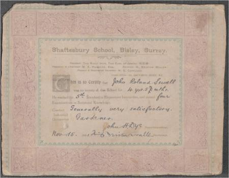 Shaftesbury School Scripture Certificate