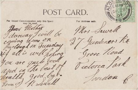 Postcard from John to his mother.