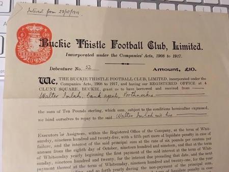 Buckie Thistle FC Debenture Certificate