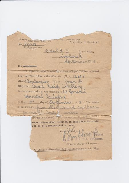 Admission to Hospital - Army Form B.104 - 81A