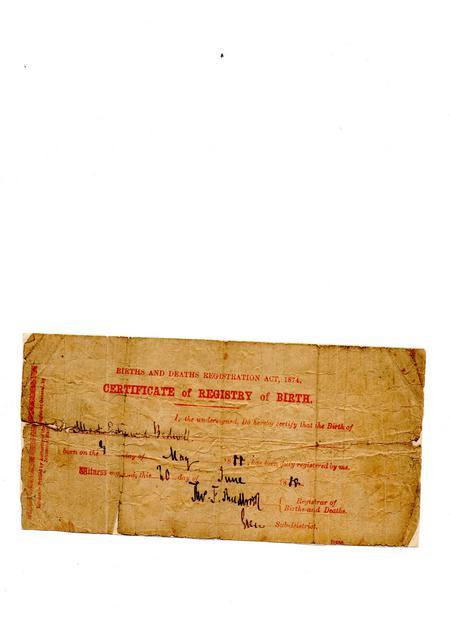 Albert Edmund Bedwell original Birth Certificate
