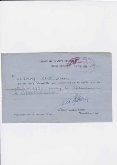 Royal Arsenal Letter