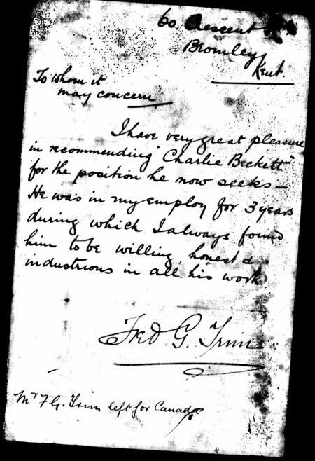 Letter of Commendation for Charlie Beckett