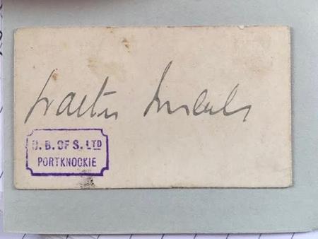 Walter Imlah's Signature at the Bank