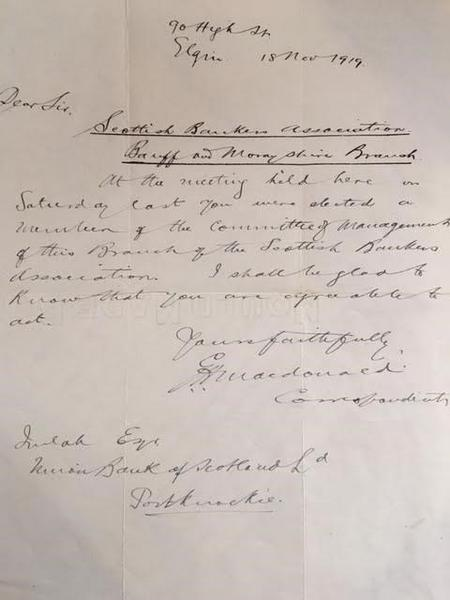 Letter to W Imlah - Scottish Bankers Assoc. 1919