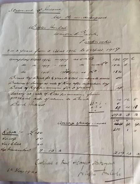 W Imlah - Statement of Income 1916 - 1919