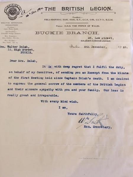 The British Legion letter of Sympathy 1926