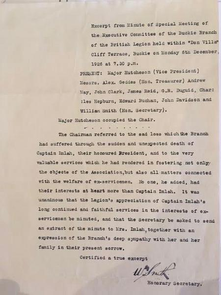The British Legion Minutes on the death of W Imlah