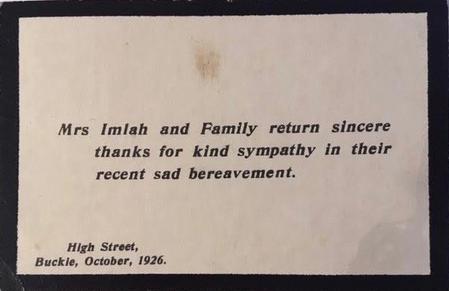 Mrs Imlah bereavement card thanking friends