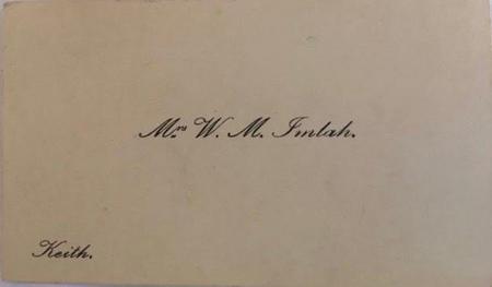 Mrs W M Imlah, Keith  business card