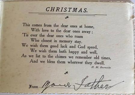 Christmas Card from his father to Walter Imlah