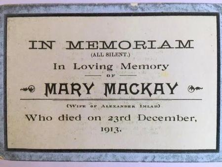 In Memoriam card for Mary Mackay Imlah d. 1913